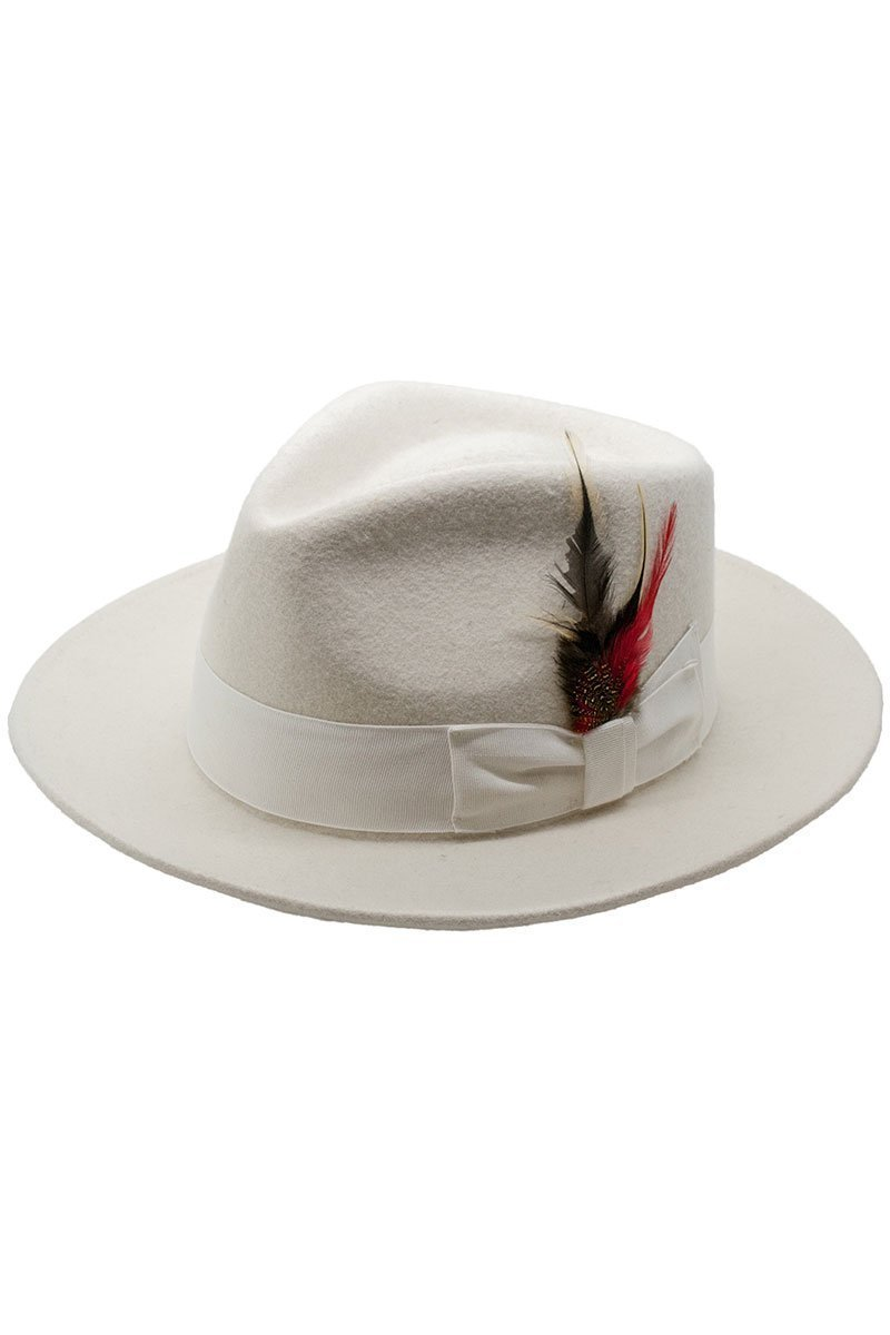 Off White Premium Wool Fedora Hat