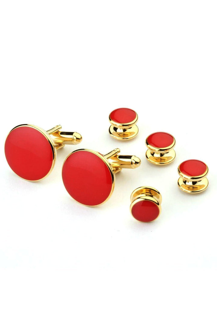 Red with Gold Trim Studs and Cufflinks Set