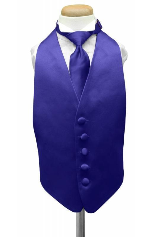 Royal Blue Luxury Satin Kids Tuxedo Vest
