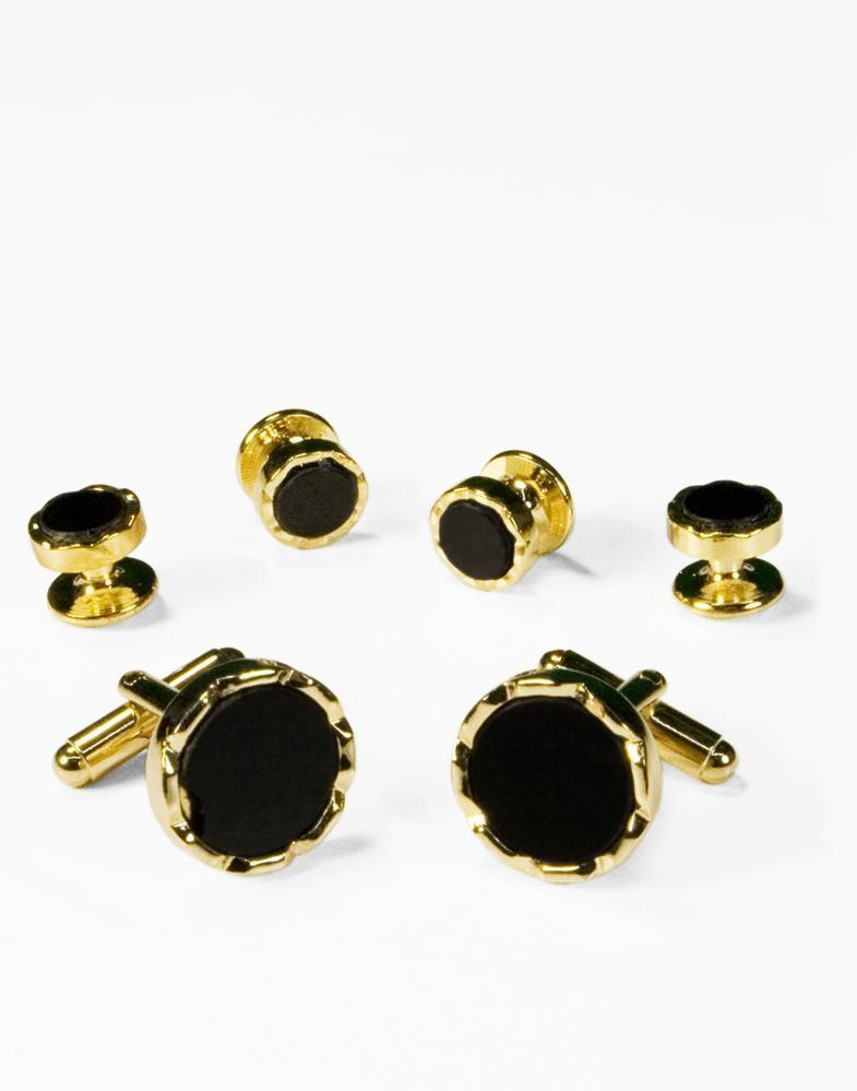 Black Circular Onyx with Gold Diamond Cut Edge Studs and Cufflinks Set