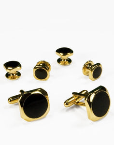 Black Circular Onyx with Gold Octagon Edge Studs and Cufflinks Set