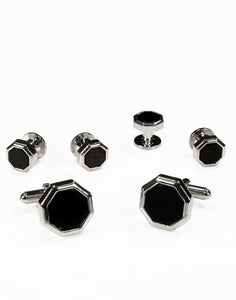 Black Octagon Onyx with Silver Edge Studs and Cufflinks Set