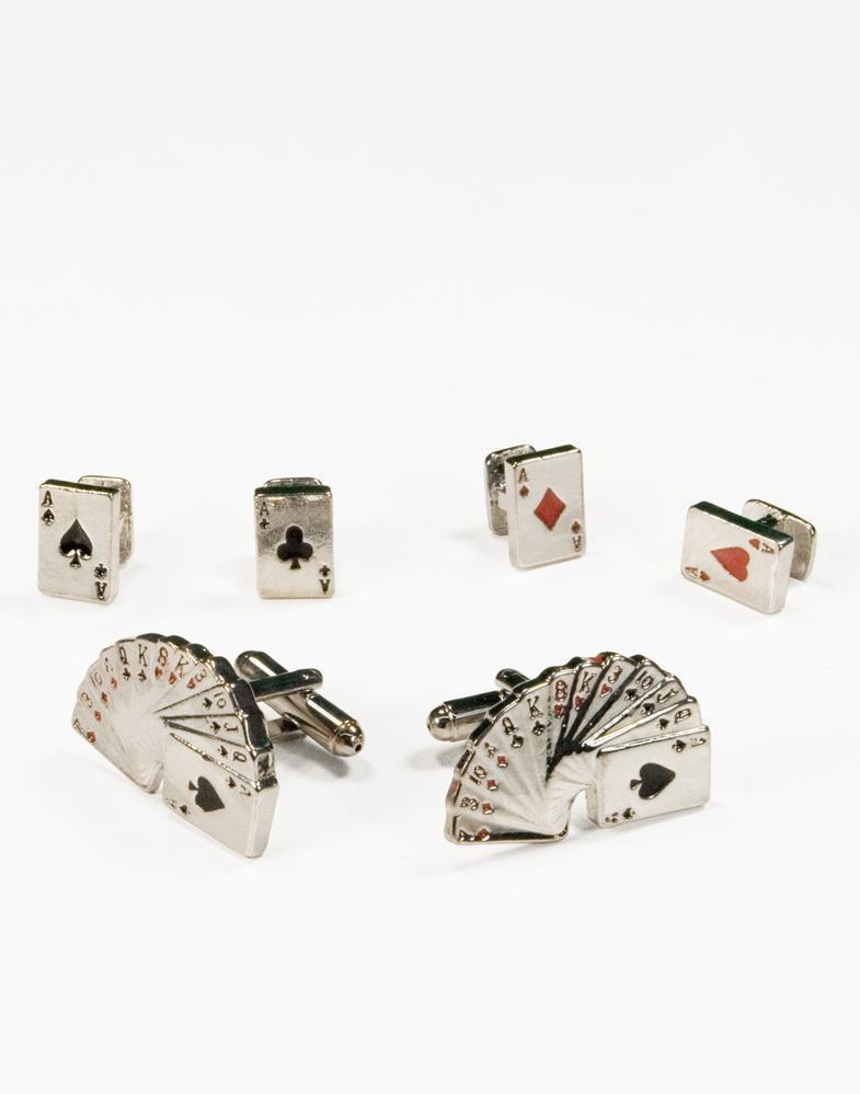 Casino Cards Silver Studs and Cufflinks Set