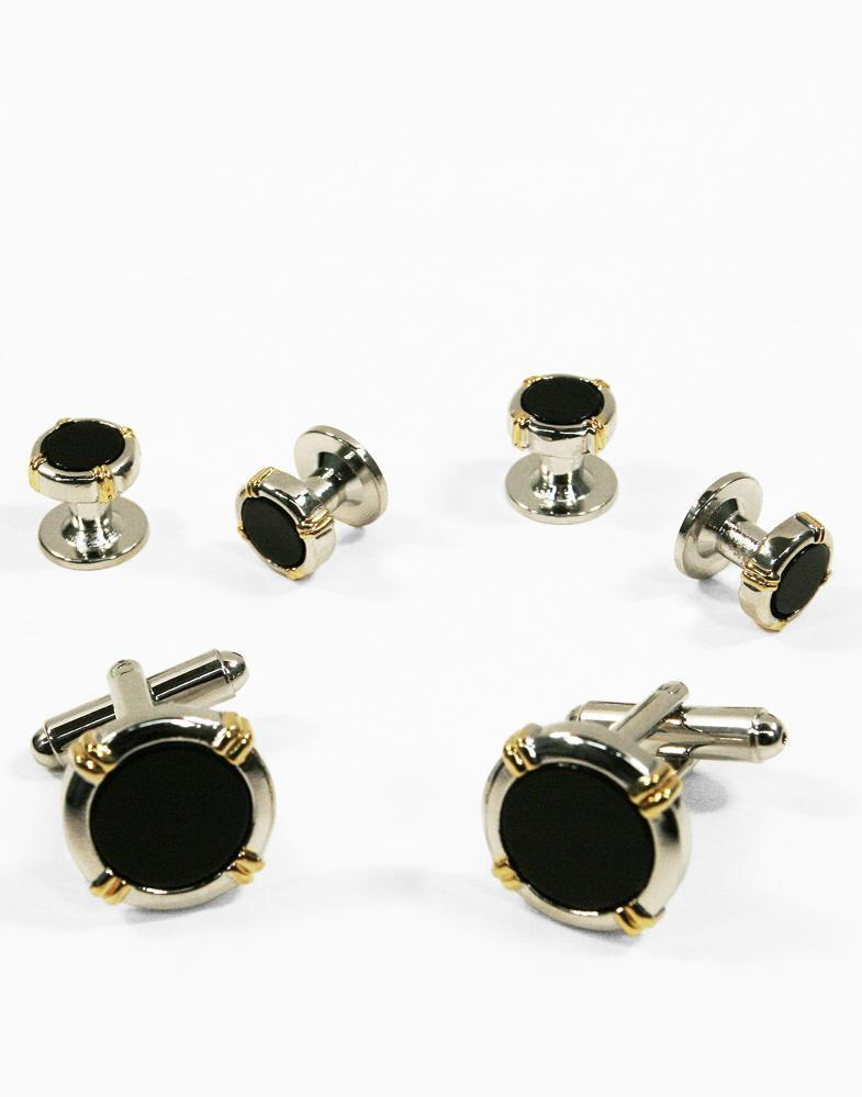 Black Circular Onyx with Silver Trim and Gold Wrapped Accents Studs and Cufflinks Set