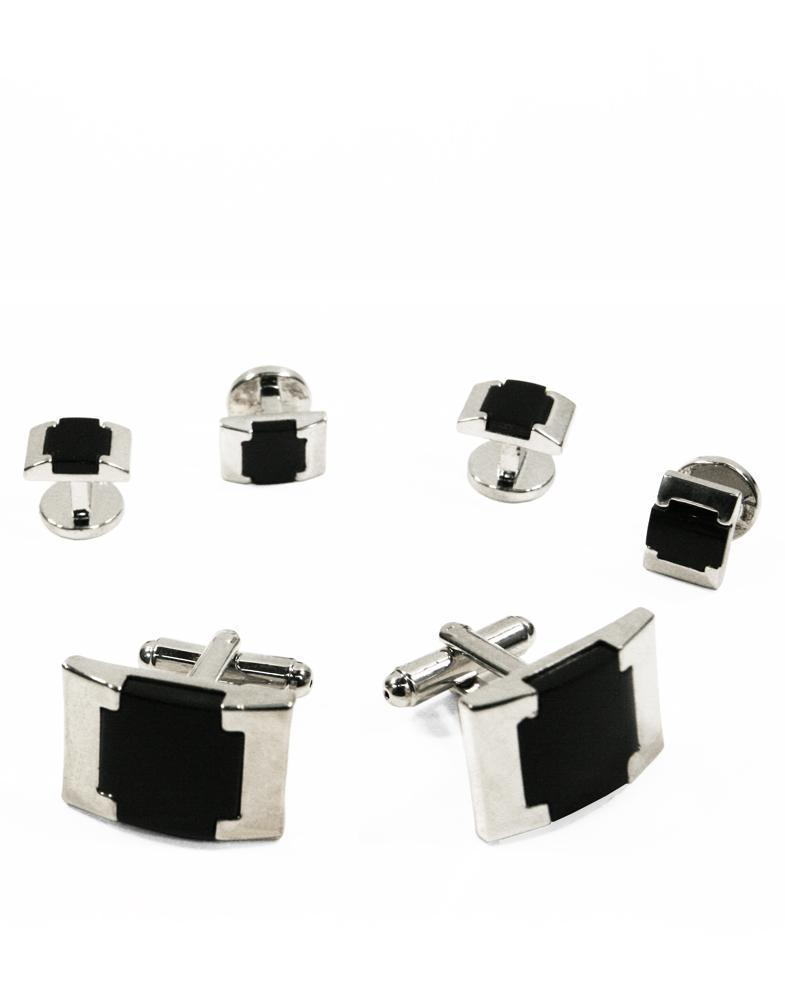 Black Watch Link Onyx with Silver Edge Studs and Cufflinks Set