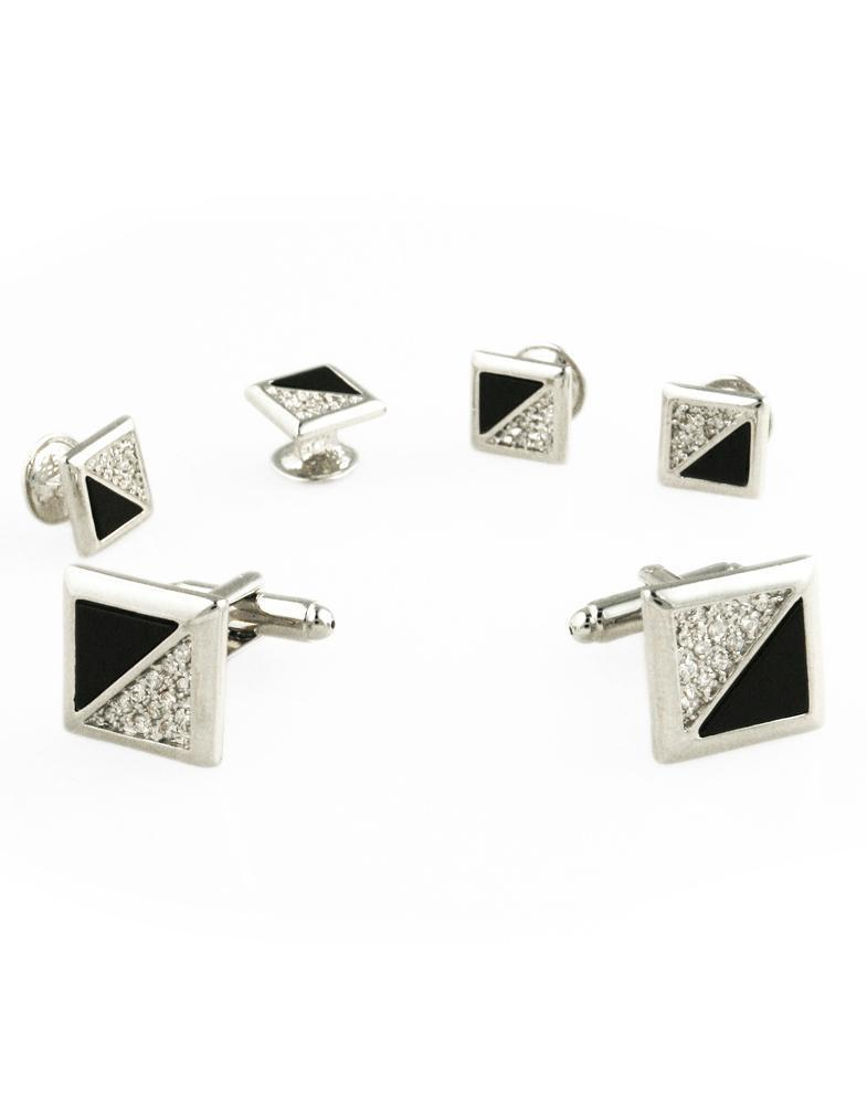 Black Onyx & Cubic Zirconia Triangles with Silver Edge Studs and Cufflinks Set