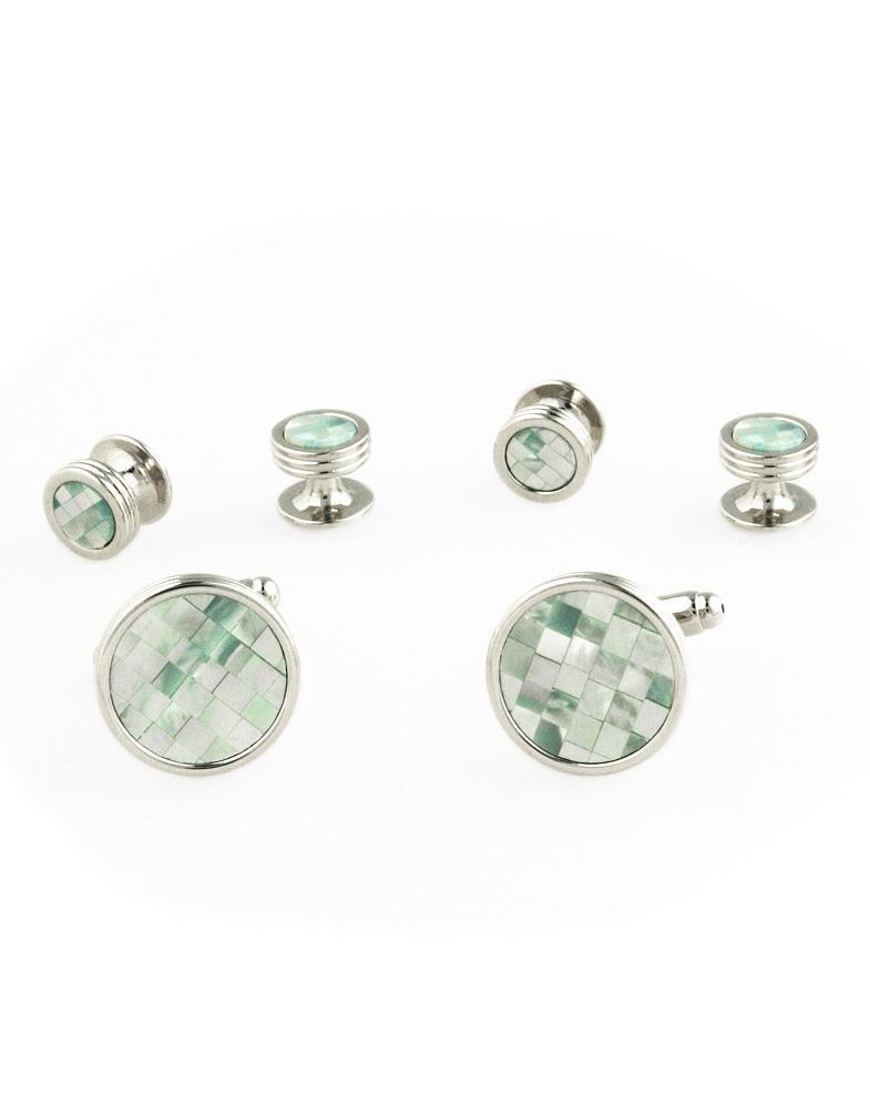 Mosaic Circular Mother of Pearl with Silver Trim Studs and Cufflinks Set