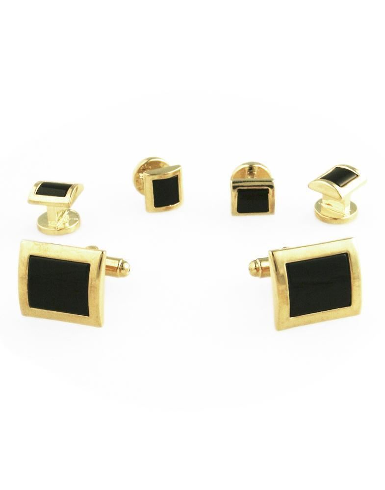 Black Square Convex Onyx with Gold Edge Studs and Cufflinks Set