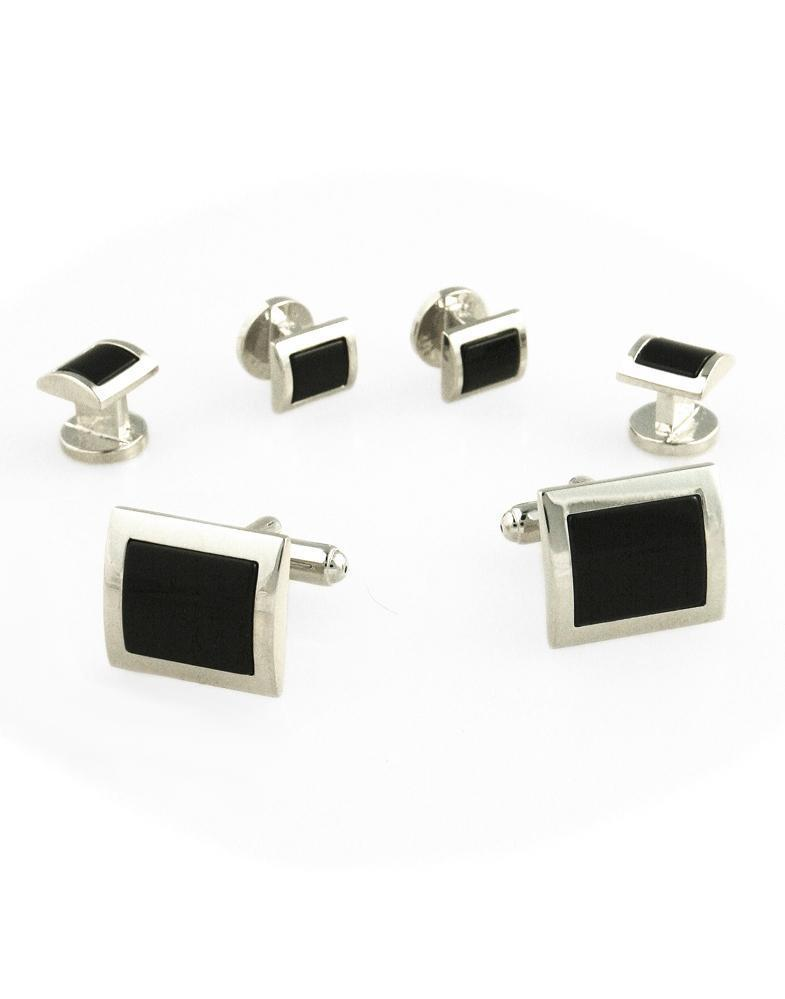 Black Square Convex Onyx with Silver Edge Studs and Cufflinks Set