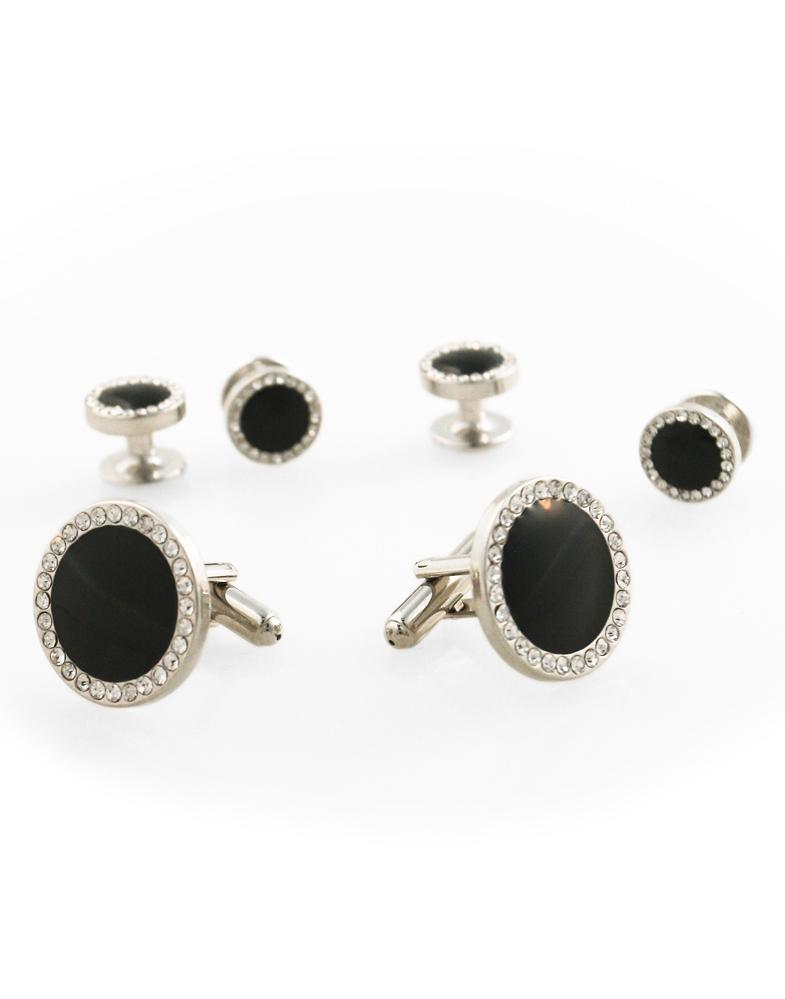 Black Circular Enamel with CZ Border Silver Edge Studs and Cufflinks Set