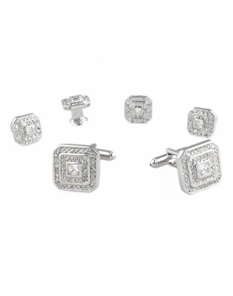 Square CZ with Silver Trim Studs and Cufflinks Set
