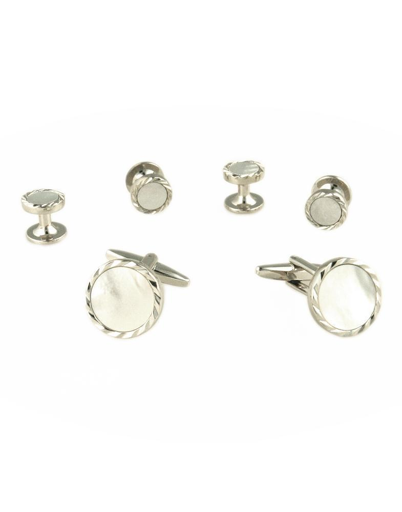 White Circular Mother of Pearl with Silver Diamond Cut Fluted Edge Studs and Cufflinks Set