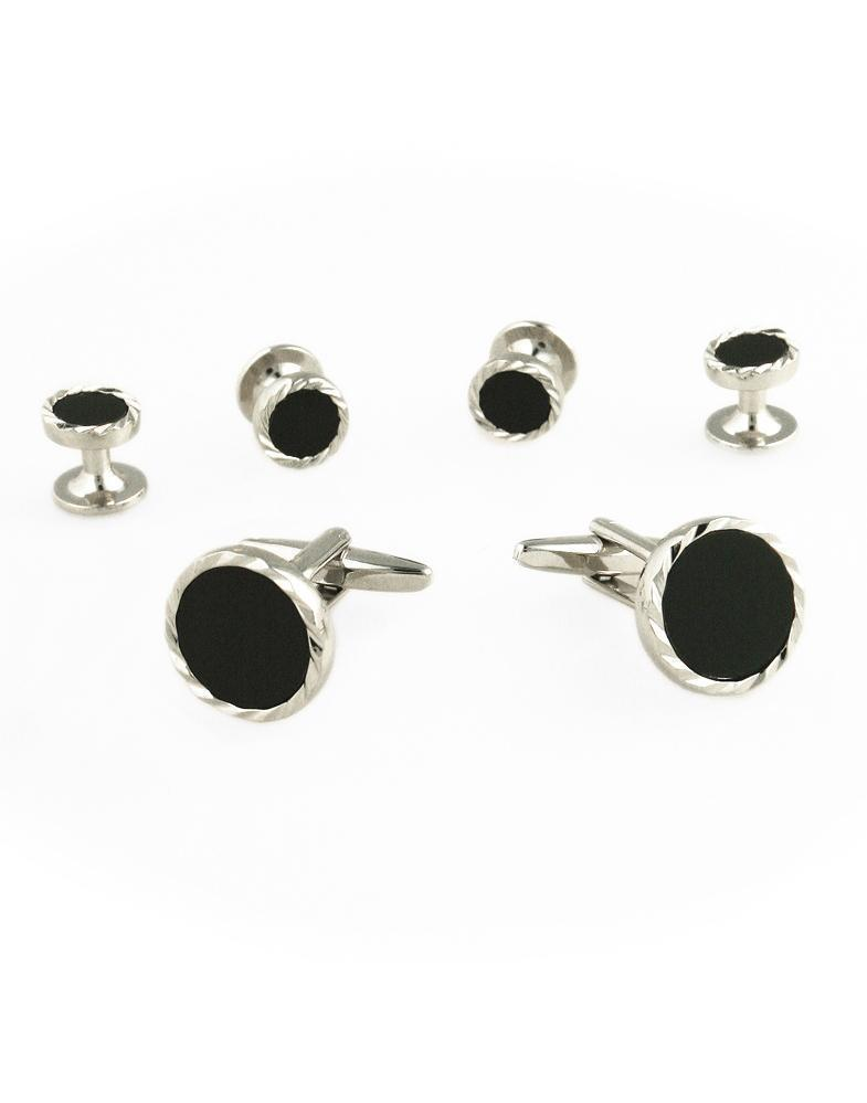 Black Circular Onyx with Silver Diamond Cut Fluted Edge Studs and Cufflinks Set