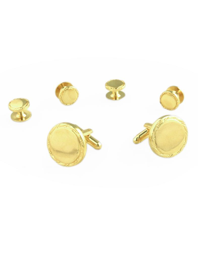 Engravable Gold Studs and Cufflinks Set