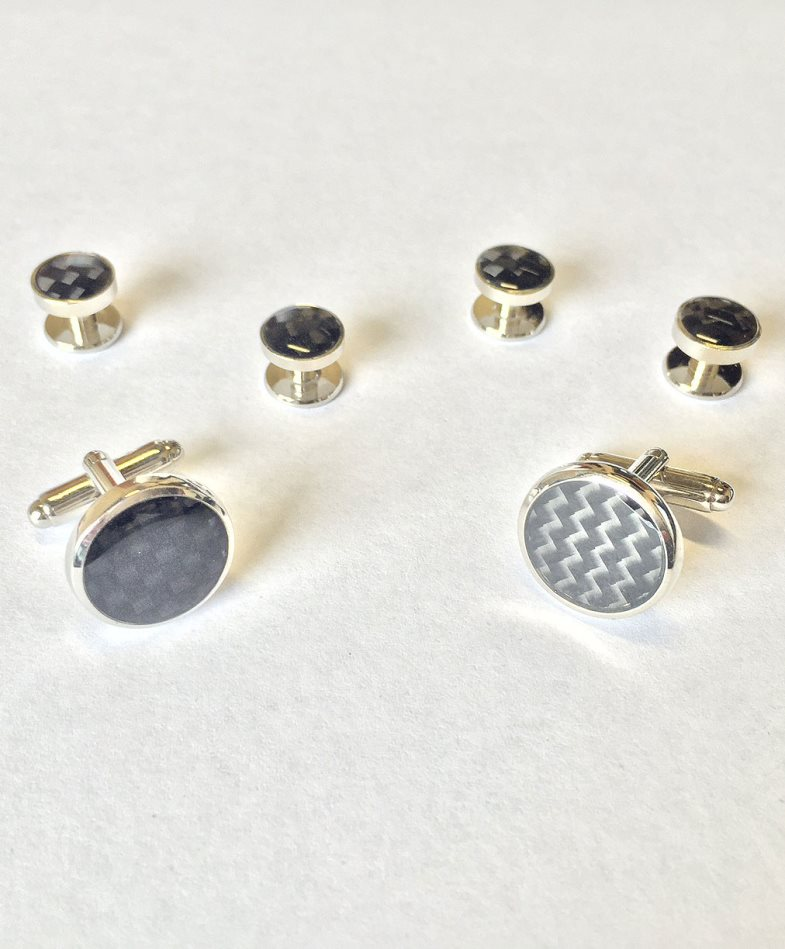 Carbon Fiber with Silver Edge Studs and Cufflinks Set
