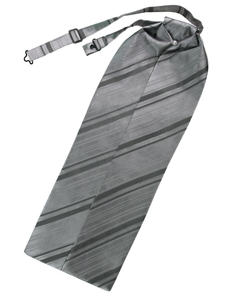Silver Striped Satin Ascot