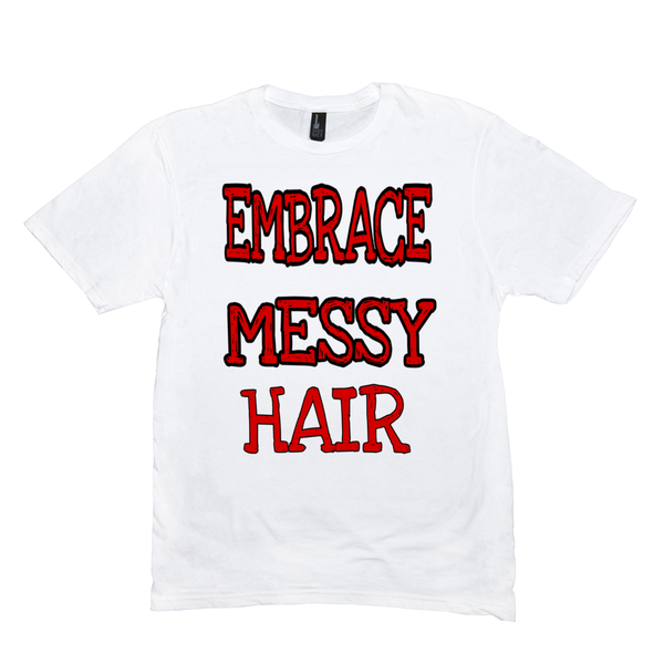White Embrace Messy Hair T-Shirts