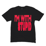 Black I'm With Stupid Tshirts