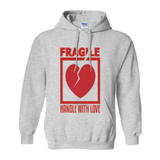 Ash Grey Fragile Handle with Love Hoodies (No-Zip/Pullover)