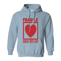 Light Blue Fragile Handle with Love Hoodies (No-Zip/Pullover)
