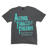 Heather Charcoal Alcohol Tobacco & Firearms T-shirts