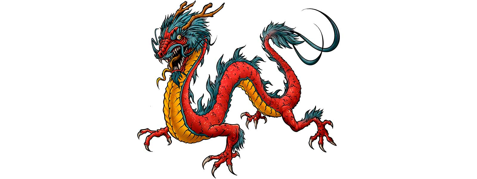 Dessin dragon japonais rouge