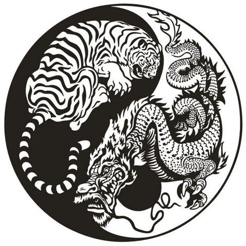 Sticker Dragon Tigre Yin Yang