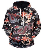 Sweat dragon chinois fleuri