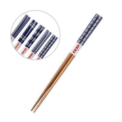 Decorated Japanese Style Blue Patterns Bamboo Chopstick Set (5 pairs)