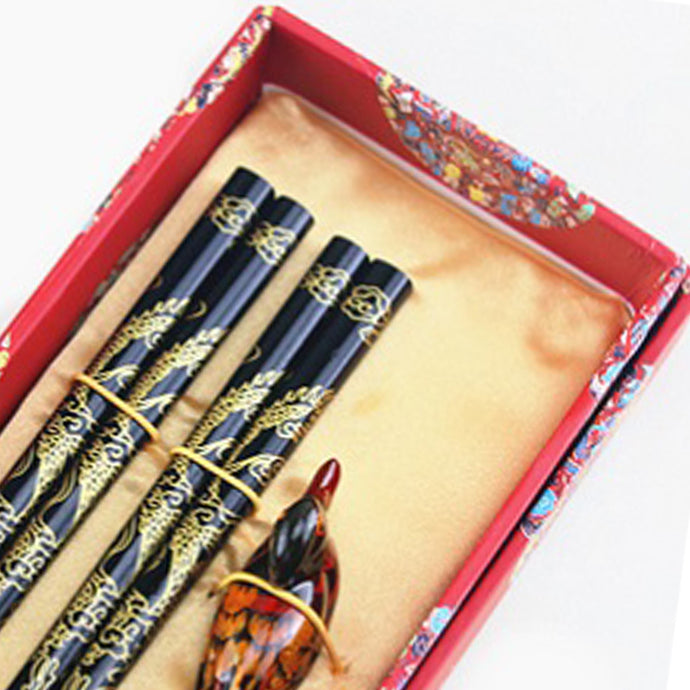 Gold Dragon with Duck Chopstick and Holder Luxury Gift Set (2 pairs)