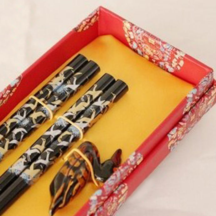 Dark Ornate Duck Chopstick and Holder Luxury Gift Set (2 pairs)