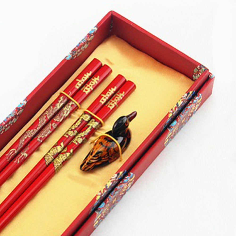 Happiness Red Dragon Chopstick and Holder Luxury Gift Set (2 pairs)