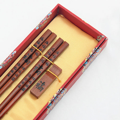 Traditional Chinese Characters Chopstick and Holder Luxury Gift Set (2 pairs)