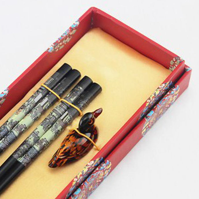 Landscape Painting Duck Chopstick and Holder Luxury Gift Set (2 pairs)