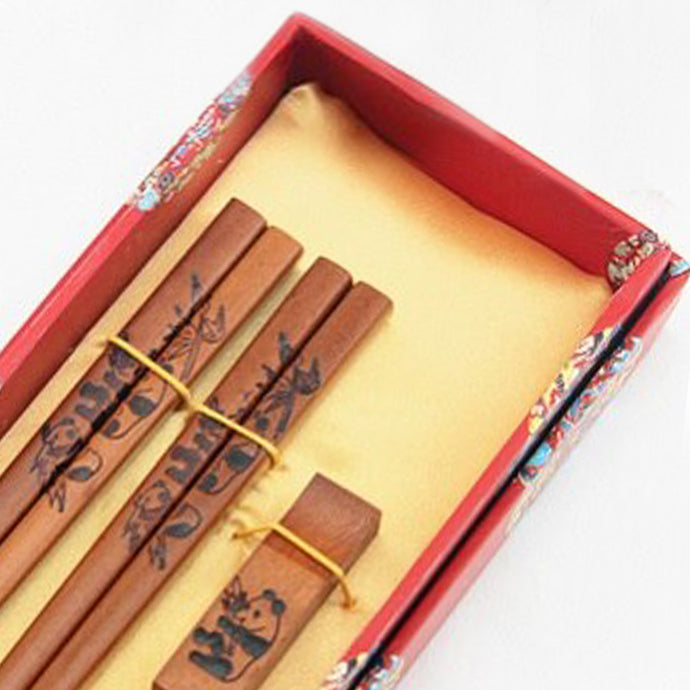 Panda Bamboo Chopstick and Holder Luxury Gift Set (2 pairs)