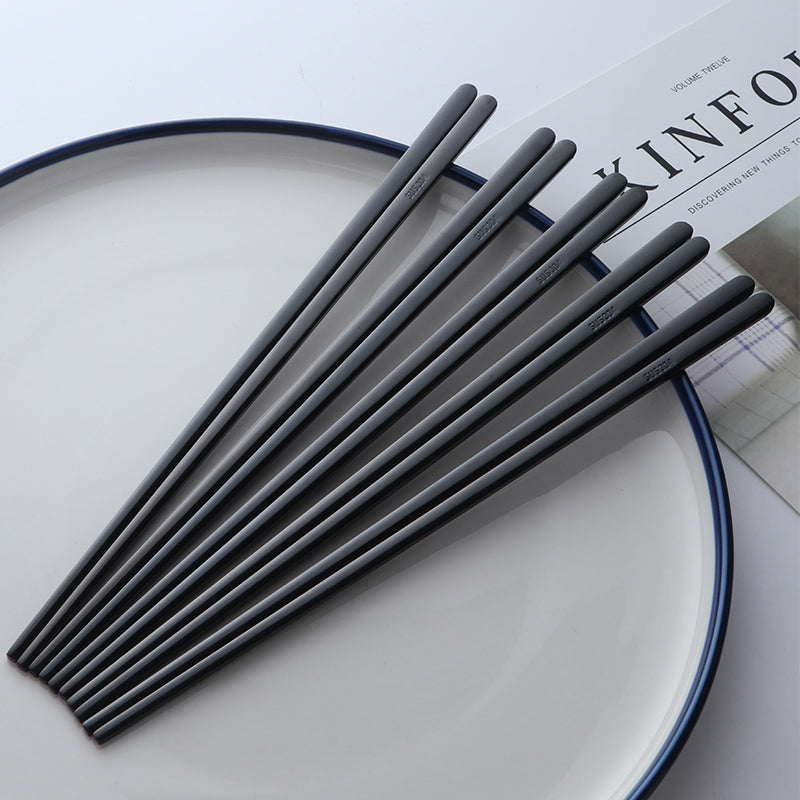 Contemporary Stainless Steel Black Chopstick Set (5 pairs)