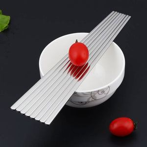 Contemporary Stainless Steel Silver Chopstick Set (10 pairs)