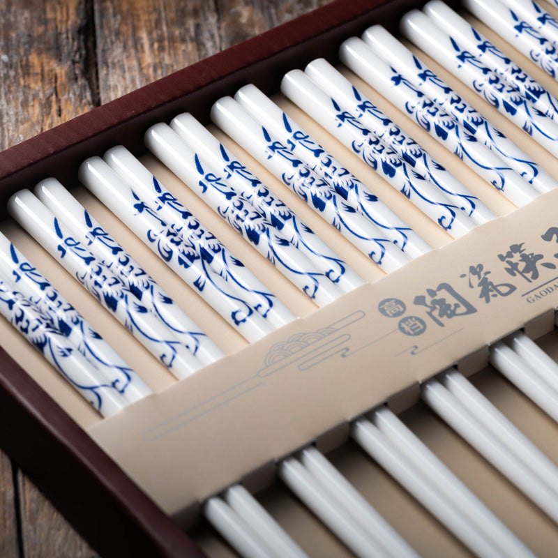 Blue China Luxury Chopsticks Set (10 pairs)