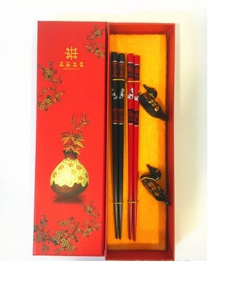 Duck Red & Black Variety Chopstick and Holder Luxury Gift Set