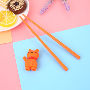 Cartoon Cat Children Training Chopsticks | Orange (1 Pair)