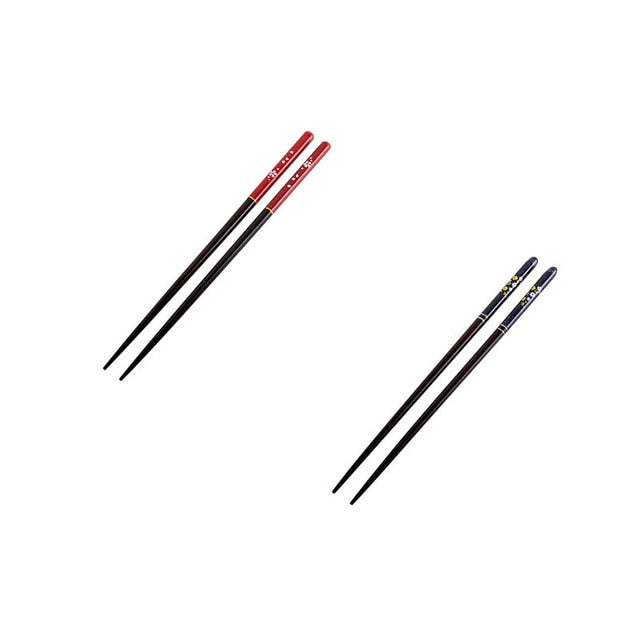 Japanese Cherry Wooden Chopsticks | Red and Blue (2 Pairs)