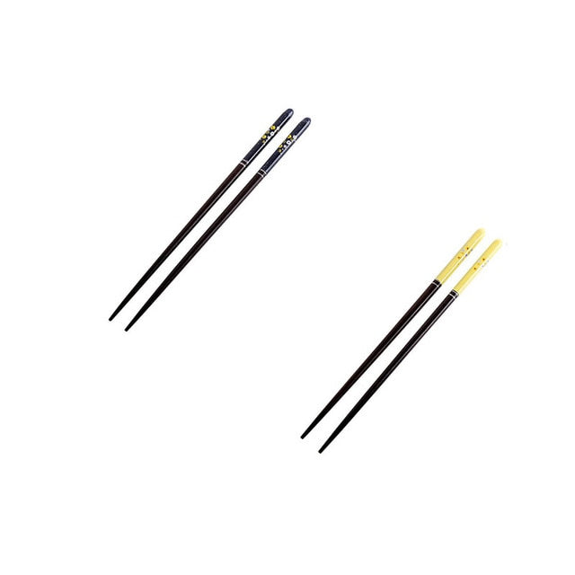 Japanese Cherry Wooden Chopsticks | Blue and Yellow (2 Pairs)