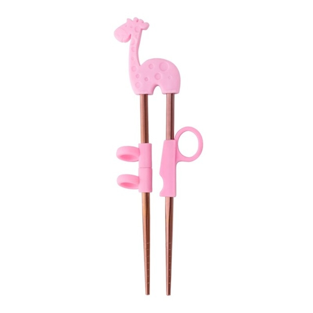 Kids Training Stainless Steel Chopsticks | Pink Giraffe in Rose Gold (1 Pair)