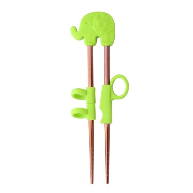 Kids Training Stainless Steel Chopsticks | Green Elephant in Rose Gold (1 Pair)