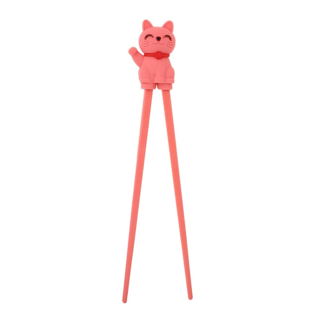 Cartoon Cat Children Training Chopsticks | Watermelon Red (1 Pair)