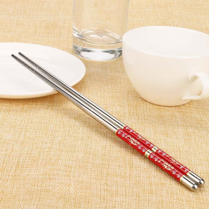Chinese Decoration Stainless Steel Chopsticks (1 Pair)