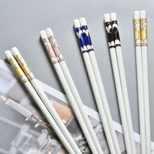 Load image into Gallery viewer, Bone China European Ceramic Chopsticks | Blue Mosaic (5 Pairs)
