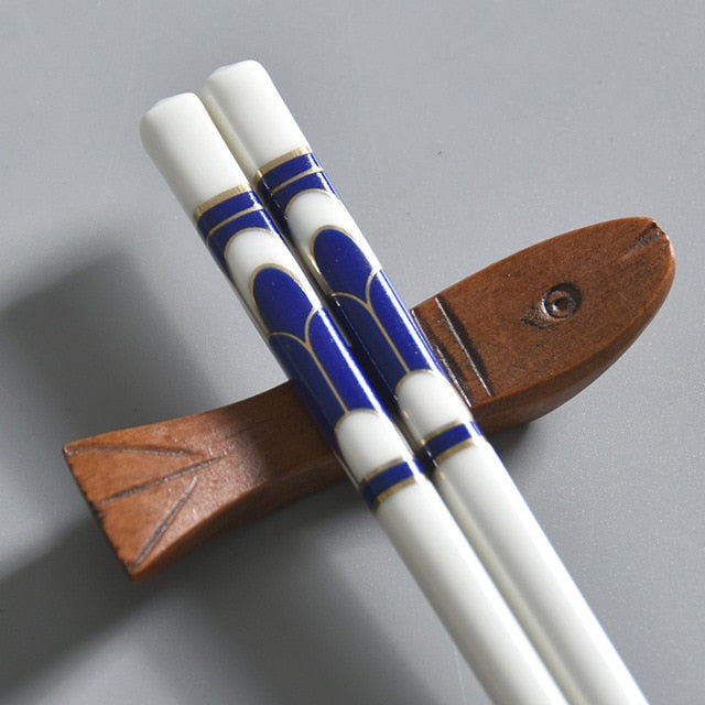Bone China European Ceramic Chopsticks | Blue Mosaic (5 Pairs)
