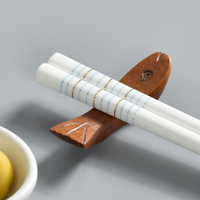 Bone China European Ceramic Chopsticks | Blue Stripe (5 Pairs)