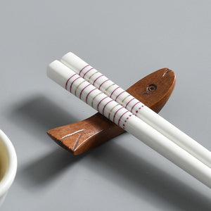 Bone China European Ceramic Chopsticks | Pink Stripe (5 Pairs)